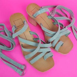 NEW Dolce Vita Green Suede Ankle Tie Block Heels